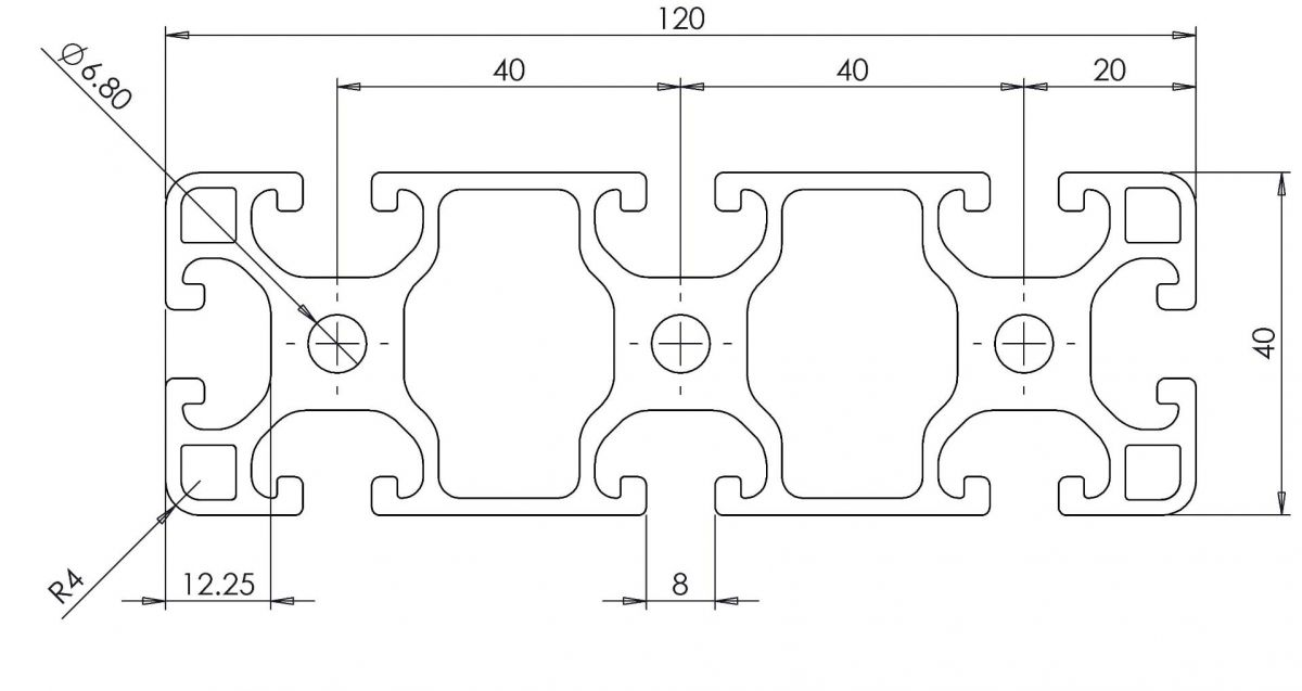 aluminium systemprofil 40x120