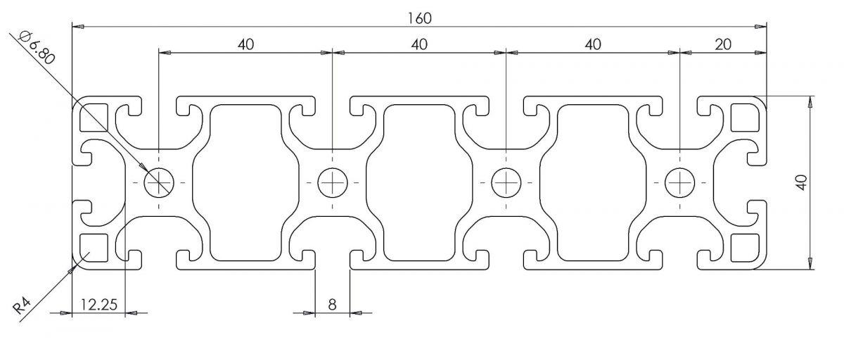 aluminium systemprofil 40x160