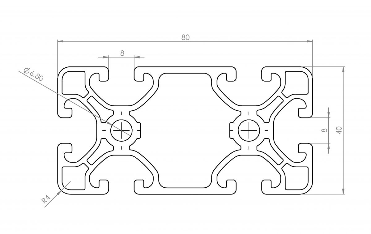 aluminium systemprofil 40x80